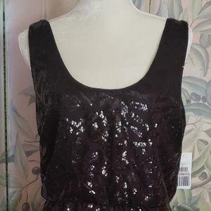 Jessica Simpson Scoop Neck Black Sequined Dress